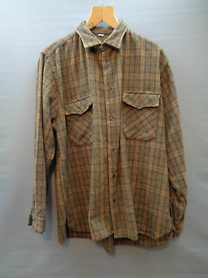 Vtg 50s French checked wool work hunting rockabilly chore shirt