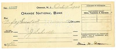 1923 Mina Edison Wife of Thomas Signed Check Orange National New Jersey Bank