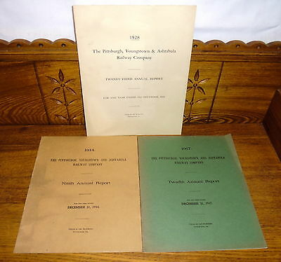 3 Pittsburgh Youngstown Ashtabula Railway Railroad Annual Reports 1914 1917 1928