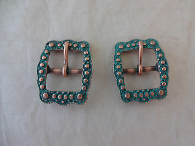 """Pair Berry Belt Buckles Turquoise Copper 5/8"""" Horse Western Tack Weaver Leather"""