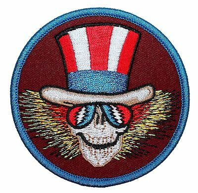 Grateful Dead Uncle Sam Skeleton US Blues Skull Rock Band Iron On Applique Patch