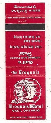 Iroquois Hotel Galt ON Ontario Matchcover 122416