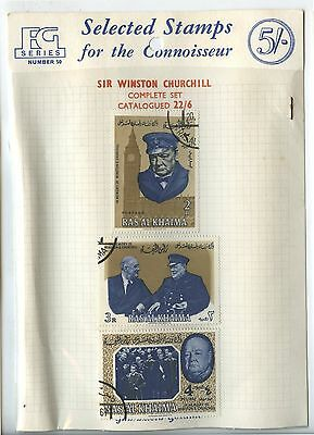 Old Vintage Packet Sir Winston Churchill Stamps Ras Al Khaima
