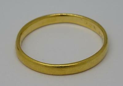 **vintage H/m English 22Ct 22K Solid Gold 2Mm Wide Band Ring B/ham C1936**