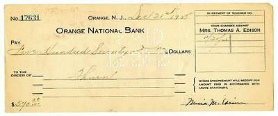 Mina Edison Wife of Thomas Signed 1925 Check Orange National New Jersey Bank