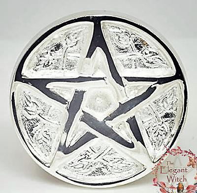 """Leafy Pentacle Altar Tile & Cone Incense Burner 3"""" Silver Plated Wiccan Witch"""