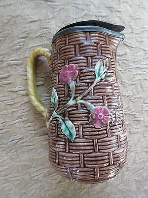 Nice Antique Majolica Pitcher Basketweave and Flowers w/ Pewter Lid