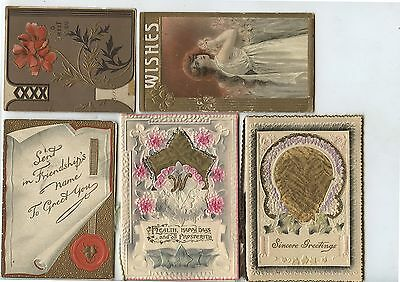 5 Old Antique Christmas Greeting Cards Woman Flowers etc