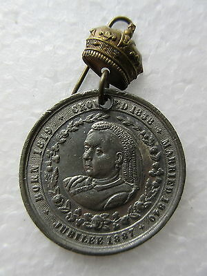 Antique 1887 Queen Victoria Jubilee Pewter Medal