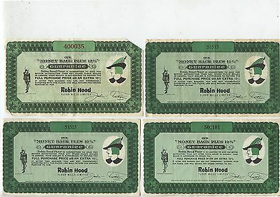 4 Old Vintage Robin Hood Flour Money Back Guarantee Coupons