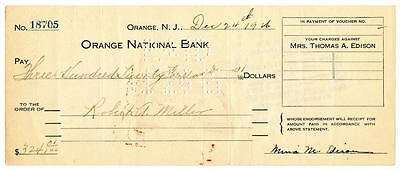 1926 Mina Edison Wife of Thomas Signed Check Orange National New Jersey Bank