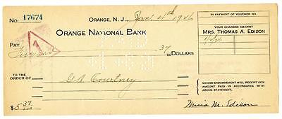 Mina Edison Wife of Thomas Signed Check 1926 Orange National New Jersey Bank