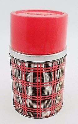 1950s Aladdin Best Buy Insulated Wide Mouth Pint Travel Thermos Red Gold Plaid
