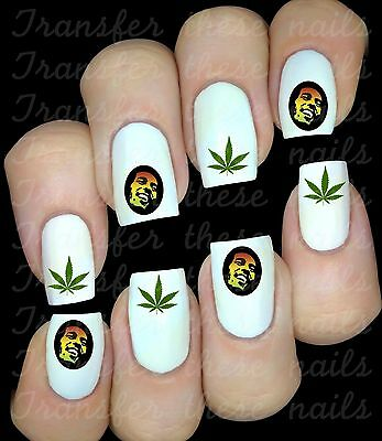 BOB MARLEY REGGAE 30 sticker autocollant ongles manucure nail art water decal
