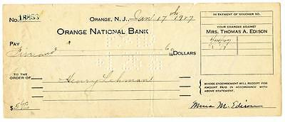 Mina Edison Wife of Thomas Signed 1927 Check Orange National New Jersey Bank