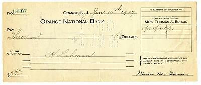 Mina Edison Wife of Thomas Signed Check 1927 Orange National New Jersey Bank