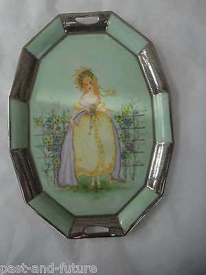 "Hand Painted Art Deco Vanity Dresser Tray,signed & Dated 1933, 10 3/4"" , 7 Sides"