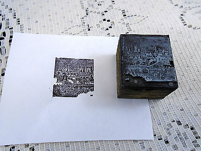Antique Cathedral Church Architectural Printing Block Letterpress Graphic Arts