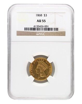 1868 NGC AU55 $3 Princess Head Three Dollar
