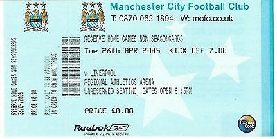 Football Ticket MANCHESTER CITY RESERVES v LIVERPOOL RESERVES Apr 2005