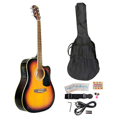 "Pyle PGAKT40SB New 41"" Acoustic-Electric Guitar Pack With Bag-Strap-Picks-Tuner"
