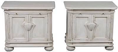 Antique Style Unique Pair of Painted Nightstands Bedside Chests End Tables
