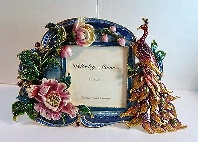 """Vntge Ornate ENAMEL & CZECH CRYSTALS PHOTO PICTURE FRAME PEACOCK & FLOWERS 3.5"""""""