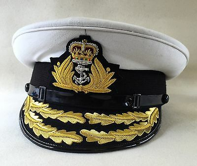 Royal Navy Admirals Cap, Flag Officer, Military Hat, RN, Badge, Gold Peak, Army