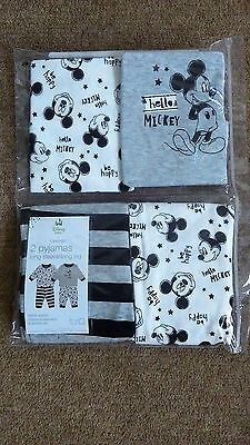 NEW IN PACKET. DISNEY'S MICKEY MOUSE PK OF 2 PYJAMAS. 3-6, 6-9, 9-12, 12-18m