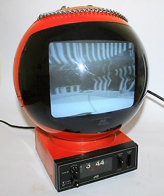 WORKING RARE VINTAGE 1970s TELEVISION JVC VIDEOSPHERE WITH ALARM CLOCK SPACE AGE