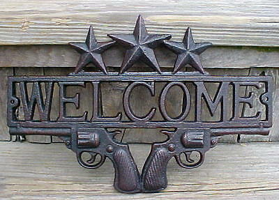 """Guns & Stars Cast Metal Welcome Sign Cowboy Six Shooters Old West Man Cave 13"""""""