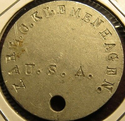 WWI United States Army Karl C. Klemmenhagen Military Dog Tag - Token