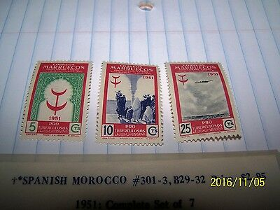 Spanish Morocco 1951 Stamp Set #301-03 Mint Lot 3