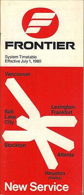 Frontier Airlines system timetable 7/1/80 (Buy 2 get 1 free)