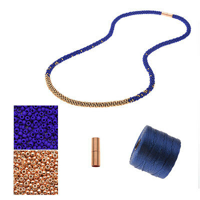 Refill Long Beaded Kumihimo Necklace Blue & Rose Gold Exclusive Beadaholique Kit
