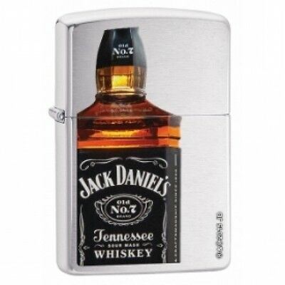 Zippo Jack Daniels Bottle Brushed Chrome Lighter Brand New