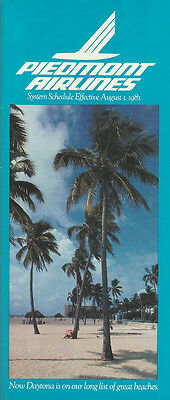 Piedmont Airlines system timetable 8/1/81 (Buy 2 get 1 free)