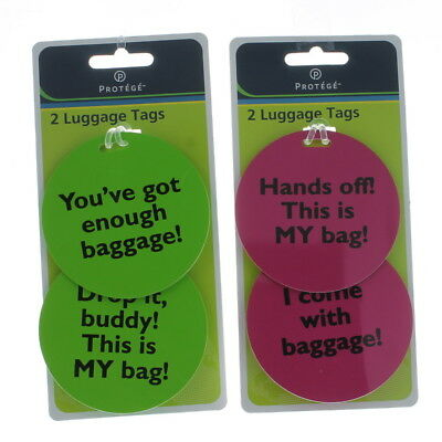 Set of 4 Protege Humorous Luggage Tags Round Green/Pink Suitcase ID