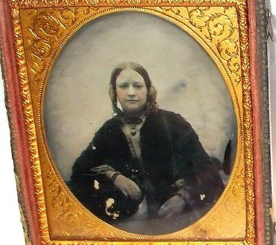 Antique 1850`s 1/6th Plate Ambrotype Photo of Young Woman with Curls