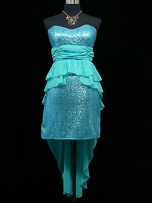Cherlone Blue Prom Ball Evening Bridesmaid Wedding Formal Gown Dress Size 12-14
