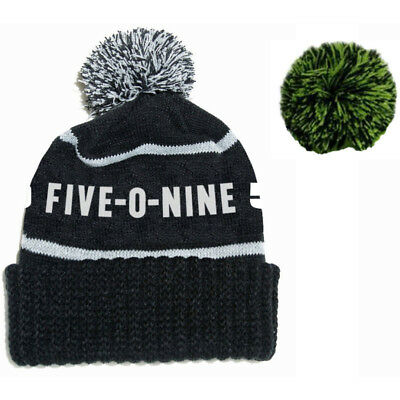 509 Adult One-Size Fits Most Detachable Pom Beanie Hat - Black / Green