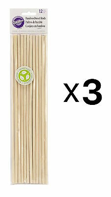 Wilton Bamboo Dowel Rods 12 Pack Eco-friendly Renewable Resource (3-Pack)