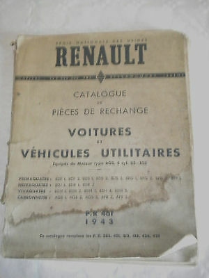 Vintage parts catalogue Renault Vehicles with engine type 603 PR461 1943