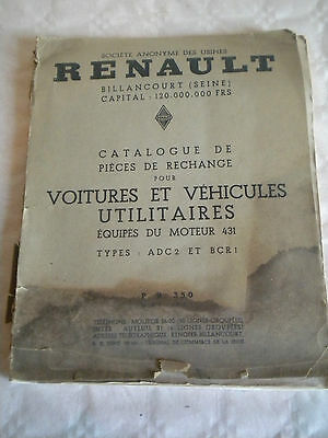 Vintage parts catalogue Renault Vehicles with engine type 431 PR350 1937