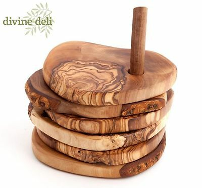 Divine Deli Olive Wood Wooden 6 Piece Coasters Set with Stand RUC-SS