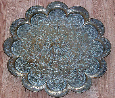 Beautiful Large Ornate Antique Engraved Indian Hindu Brass Scalloped Tray