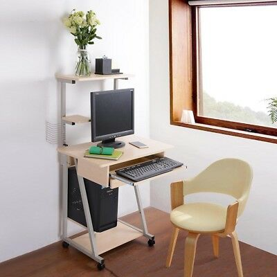 Mobile Computer Desk Tower Printer Shelf Laptop Rolling Table Study Home Office