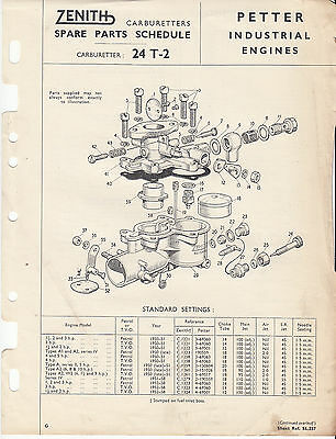 Zenith Carbs Service bulletin 24 T-2 for Petter industrial engines