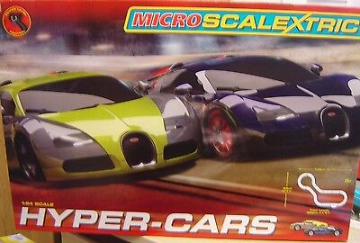 "Micro Scalextric 1:64 G1108 Hyper-Cars Komplettbahn ""Neu""(AND)"