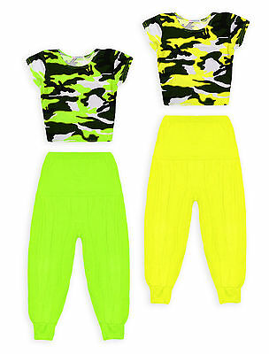 Girls Dance Set New Kids Camo Crop Top Neon Harem Pant Outfit Ages 7 - 13 Years